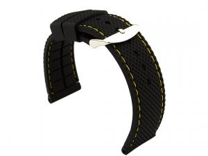 16mm Black/Yellow - Silicon Watch Strap / Band with Thread, Waterproof