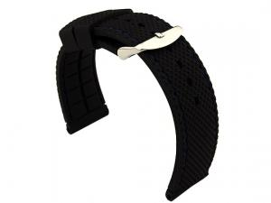 24mm Black/Blue - Silicon Watch Strap / Band with Thread, Waterproof