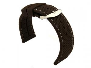22mm Brown/White - Silicon Watch Strap / Band with Thread, Waterproof