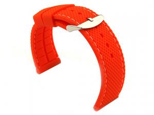 20mm Orange/White - Silicon Watch Strap / Band with Thread, Waterproof