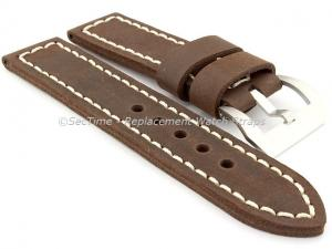 22mm Dark Brown/White - Genuine Leather Hand-Stitched Watch Strap/Band SIRIUS