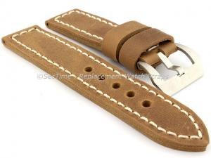 22mm Brown/White - Genuine Leather Hand-Stitched Watch Strap/Band SIRIUS