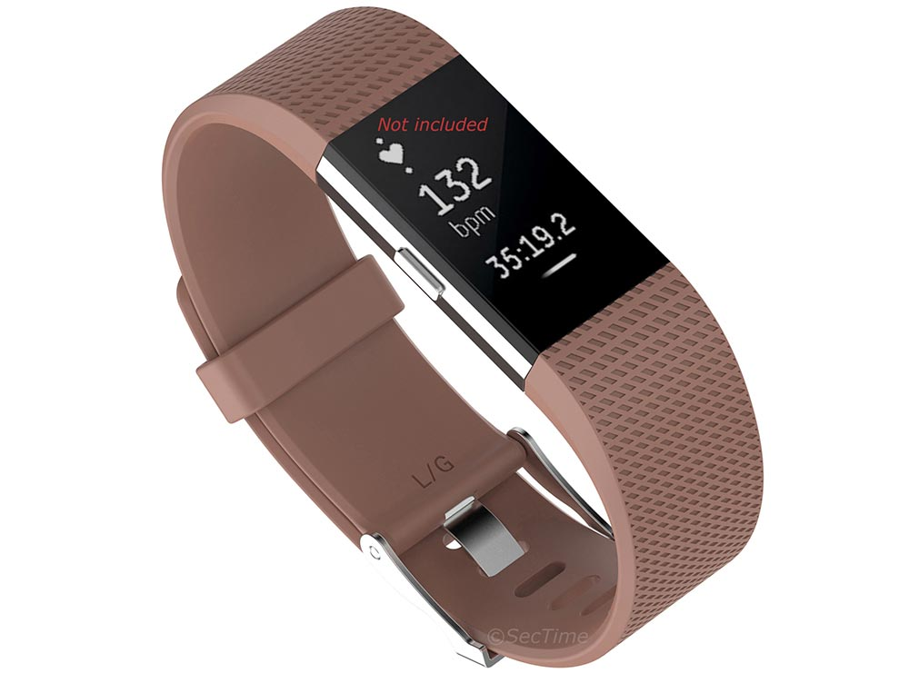 Replacement Silicone Watch Strap Band For Fitbit Charge 2 Brown - Large - 02