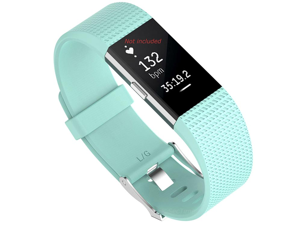 Replacement Silicone Watch Strap Band For Fitbit Charge 2 Cyan - Small