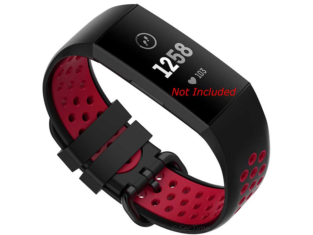 Silicone Watch Strap Band For Fitbit Charge 3, 4 Black/Red - Universal - M2