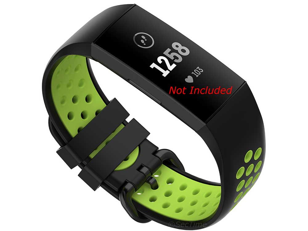Replacement Silicone Watch Strap Band For Fitbit Charge 3, 4 Black/Green - Universal M2 - 01