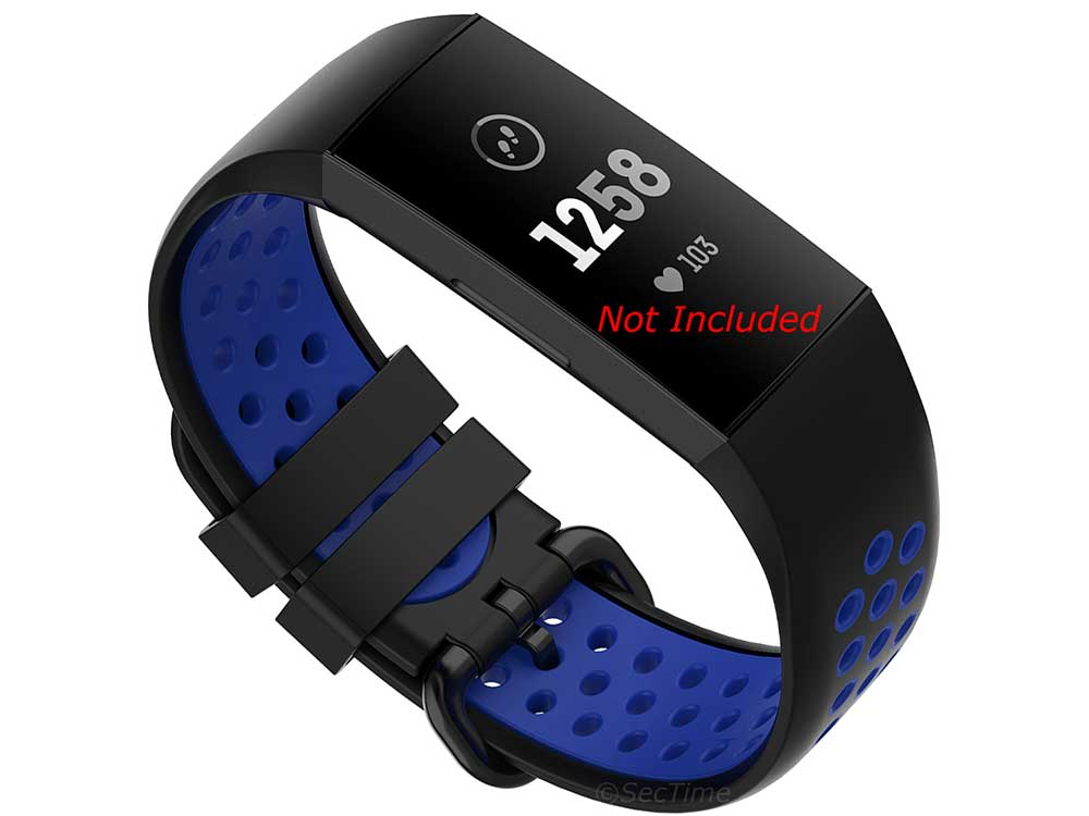Replacement Silicone Watch Strap Band For Fitbit Charge 3, 4 Black/Blue - Universal M2 - 01