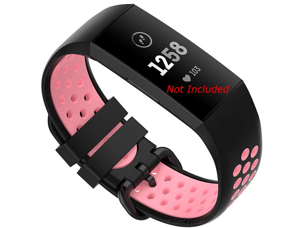 Replacement Silicone Watch Strap Band For Fitbit Charge 3, 4 Black/Pink - Universal M2 - 01
