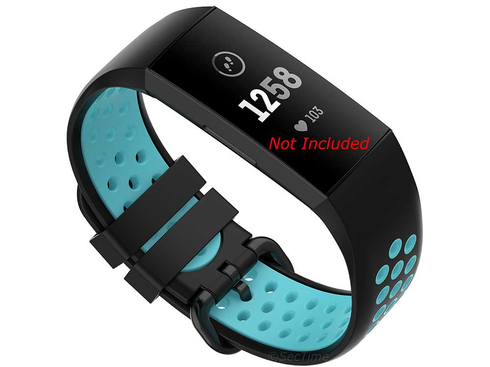 Replacement Silicone Watch Strap Band For Fitbit Charge 3, 4 Black/Aqua - Universal M2 - 01