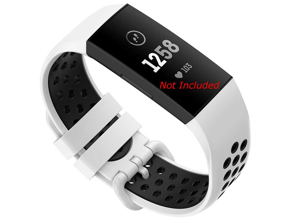 Silicone Watch Strap Band For Fitbit Charge 3, 4 White/Black - Universal - M2