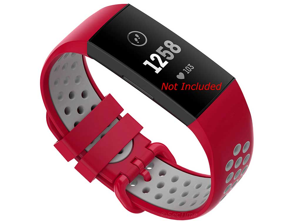 Silicone Watch Strap Band For Fitbit Charge 3, 4 Red/Grey - Universal - M2