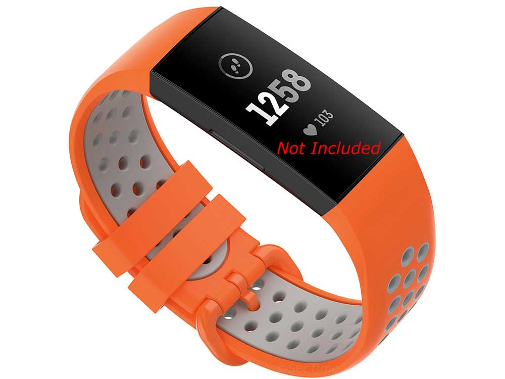 Silicone Watch Strap Band For Fitbit Charge 3, 4 Orange/Grey - Universal - M2