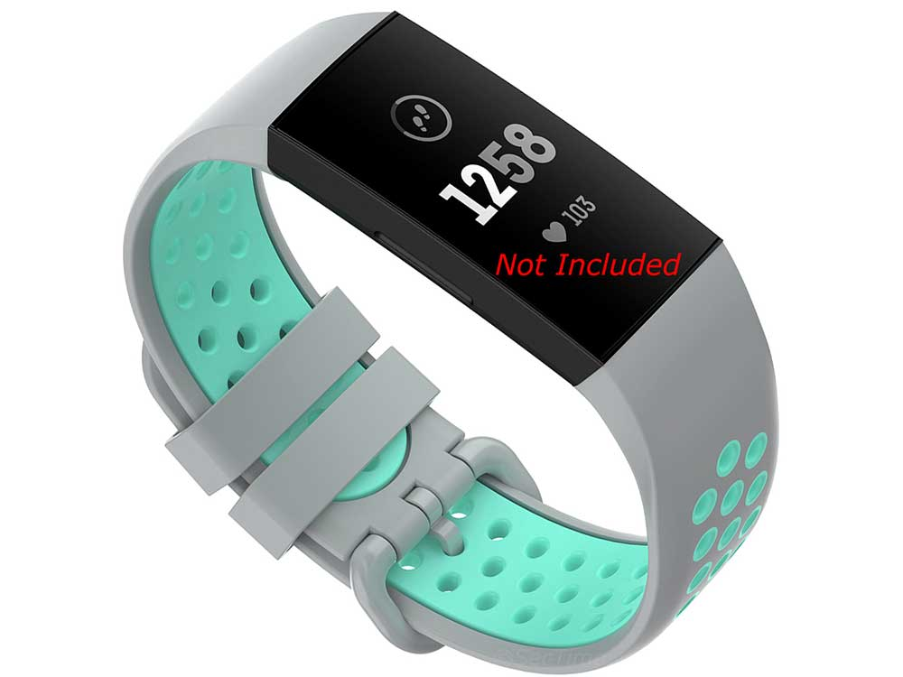 Silicone Watch Strap Band For Fitbit Charge 3, 4 Grey/Turquoise - Universal - M2