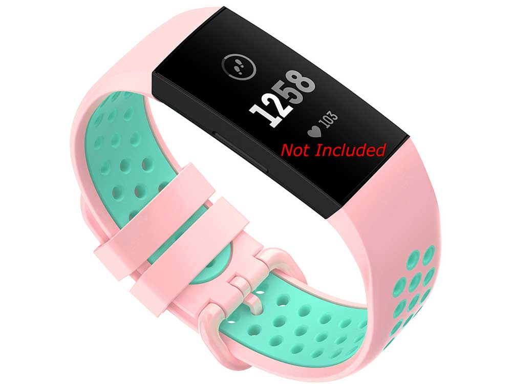Silicone Watch Strap Band For Fitbit Charge 3, 4 Pink/Turquoise - Universal - M2