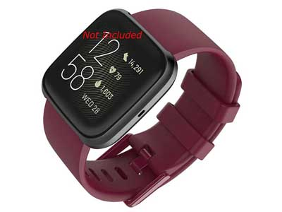 Silicone Watch Strap Band QR For Fitbit Versa 1, 2, Lite - Maroon Large - M1