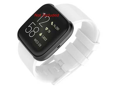 Silicone Watch Strap Band QR For Fitbit Versa 1, 2, Lite - White Large - M1