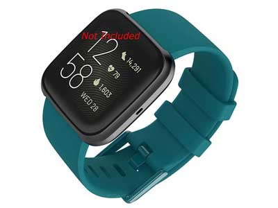 Silicone Watch Strap Band QR For Fitbit Versa 1, 2, Lite - Turquoise Large - M1