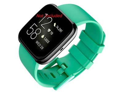 Silicone Watch Strap Band QR For Fitbit Versa 1, 2, Lite - Green Large - M1