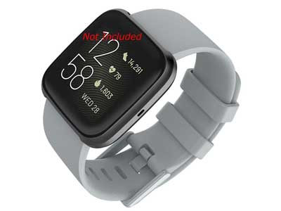 Silicone Watch Strap Band QR For Fitbit Versa 1, 2, Lite - Grey Large - M1