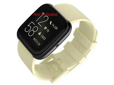 Silicone Watch Strap Band QR For Fitbit Versa 1, 2, Lite - Beige Large - M1