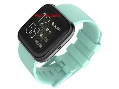 Silicone Watch Strap Band QR For Fitbit Versa 1, 2, Lite - Cyan Large - M1