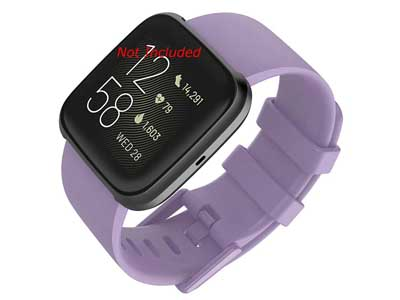 Silicone Watch Strap Band QR For Fitbit Versa 1, 2, Lite - Lilac Large - M1