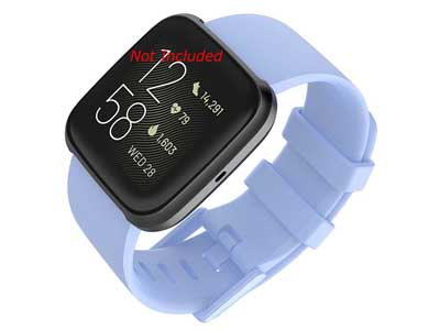 Silicone Watch Strap Band QR For Fitbit Versa 1, 2, Lite - Lilac-Blue Large - M1