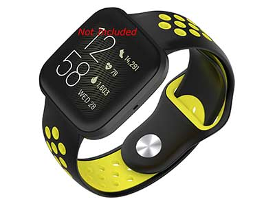 Silicone Watch Strap Band QR For Fitbit Versa 1, 2, Lite - Black/Yellow - M2