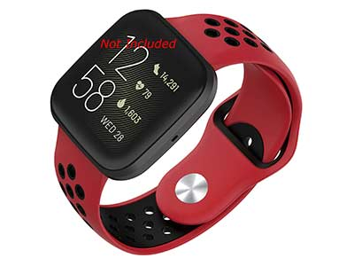 Silicone Watch Strap Band QR For Fitbit Versa 1, 2, Lite - Red/Black - M2