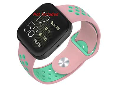 Silicone Watch Strap Band QR For Fitbit Versa 1, 2, Lite - Pink/Turquoise - M2