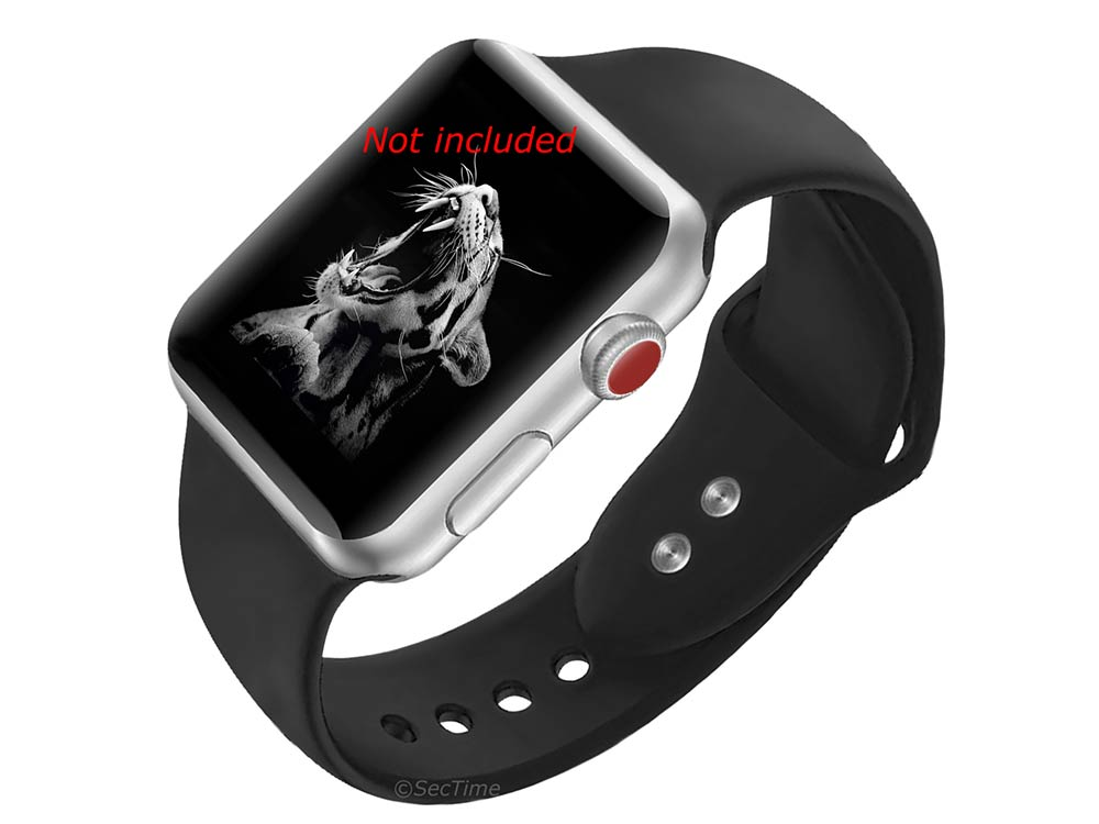 Silicone Watch Strap Band For iWatch 38mm/40mm Black - Small - M1 - 02