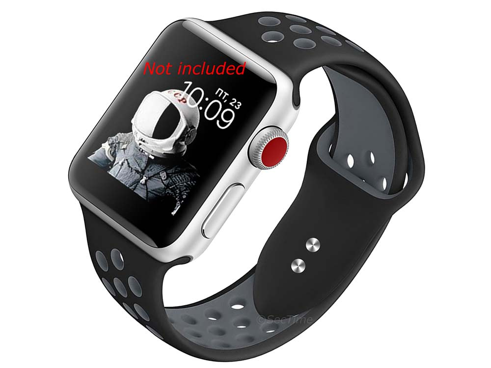 Perforated Silicone Watch Strap Band For iWatch 42mm/44mm Black/Grey - Large - M2 - 01