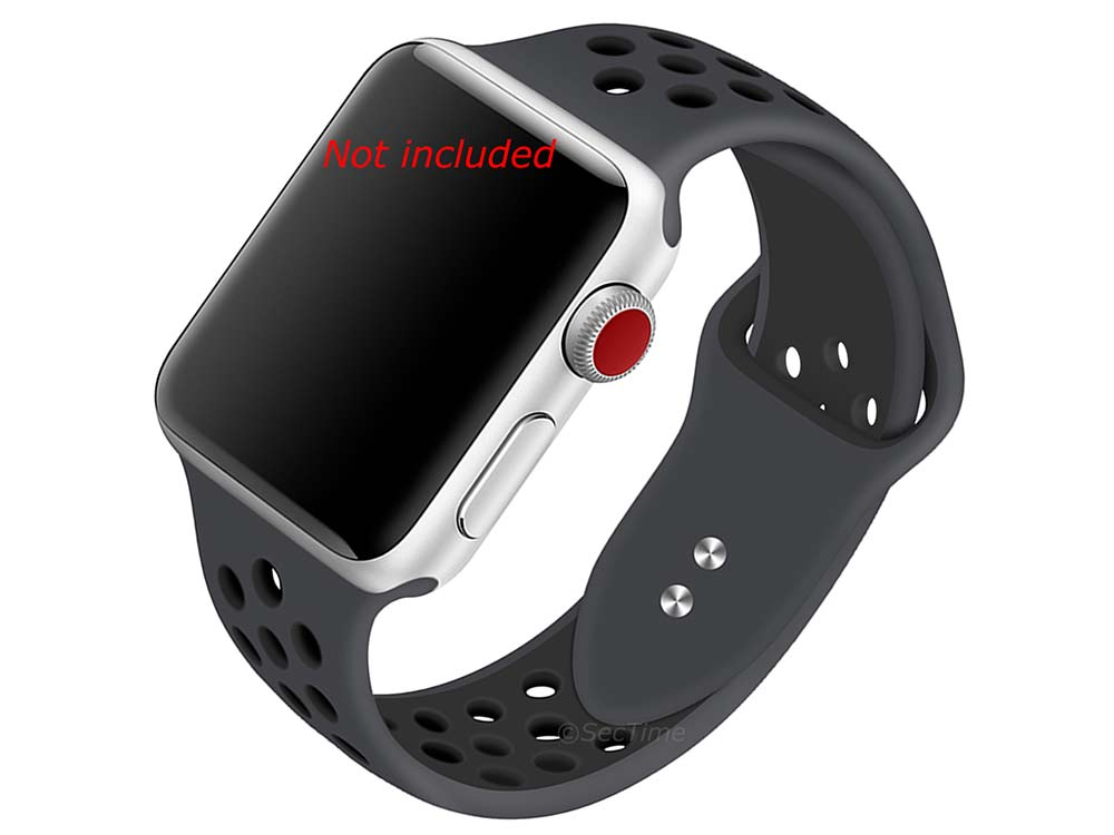 Perforated Silicone Watch Strap For Apple iWatch 42mm/44mm Grey/Black Large