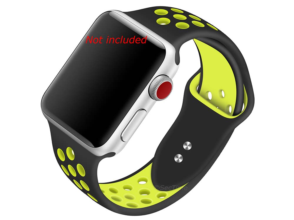 Perforated Silicone Watch Strap For Apple iWatch 42mm/44mm Black/Lime Large