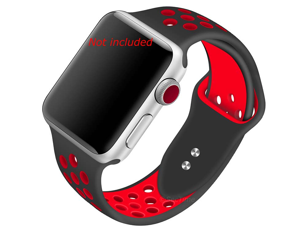 Perforated Silicone Watch Strap For Apple iWatch 42mm/44mm Black/Red Large