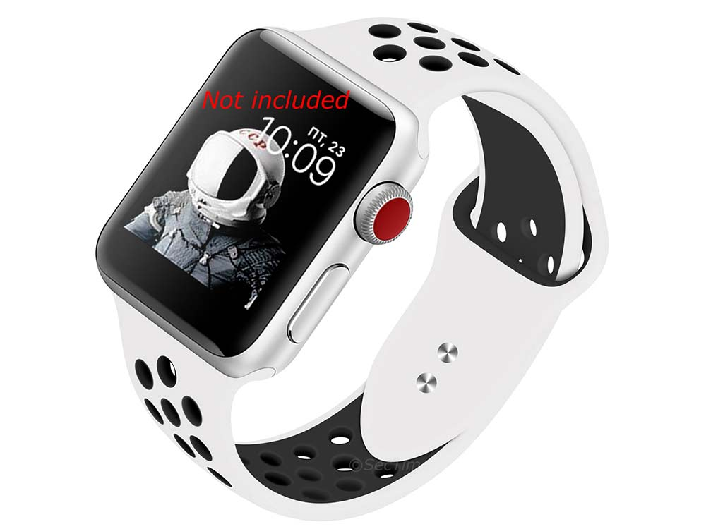 Perforated Silicone Watch Strap For Apple iWatch 42mm/44mm White/Black Large