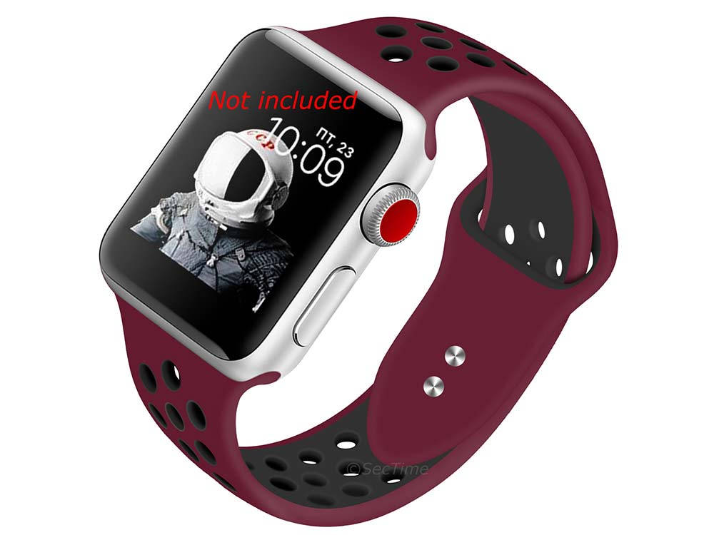 Perforated Silicone Watch Strap For Apple iWatch 42mm/44mm Maroon/Black Large