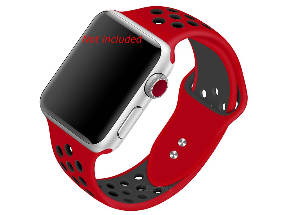 Perforated Silicone Watch Strap For Apple iWatch 42mm/44mm Red/Black Large