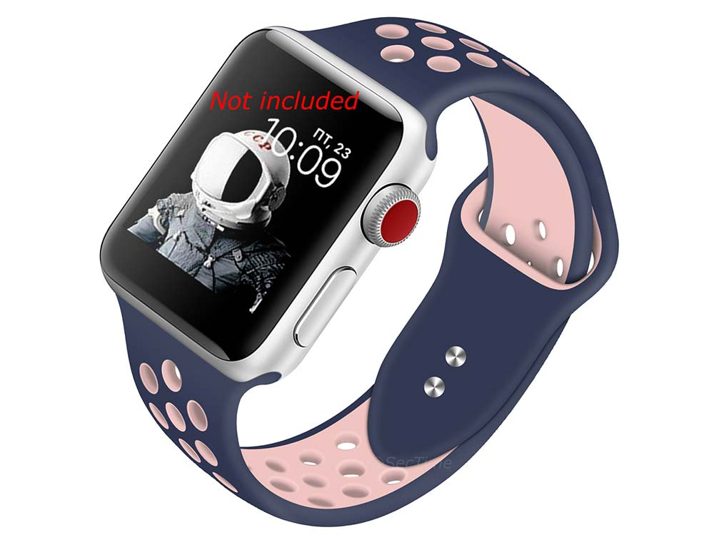 Perforated Silicone Watch Strap For Apple iWatch 42mm/44mm Navy Blue/Pink Large