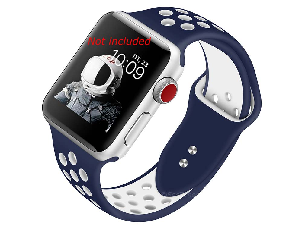 Perforated Silicone Watch Strap For Apple iWatch 42mm/44mm Navy Blue/White Large