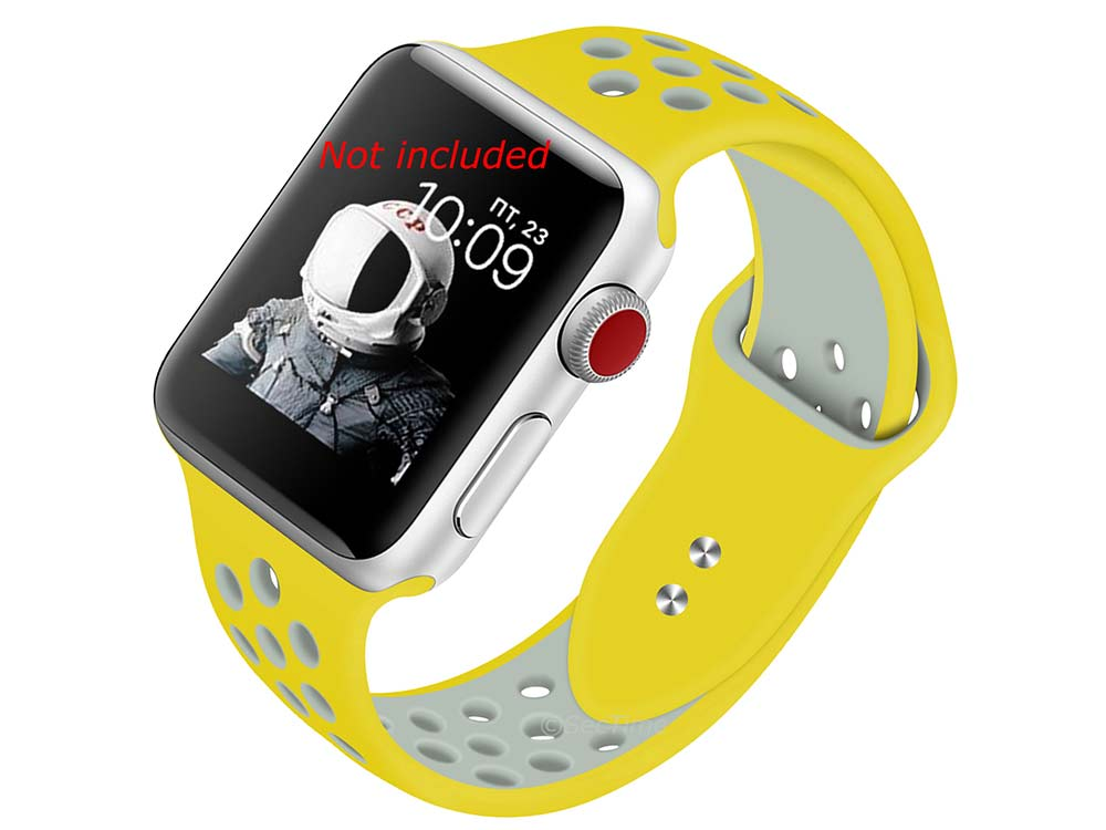 Perforated Silicone Watch Strap For Apple iWatch 42mm/44mm Yellow/Silver Large
