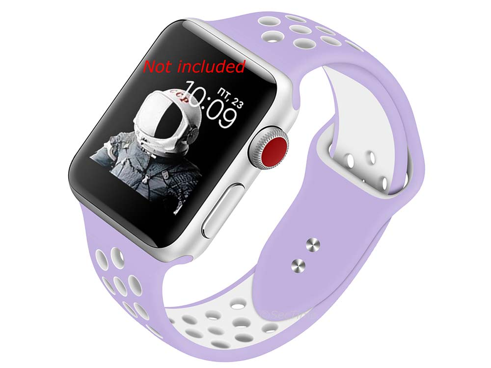 Perforated Silicone Watch Strap For Apple iWatch 42mm/44mm Lilac/White Large
