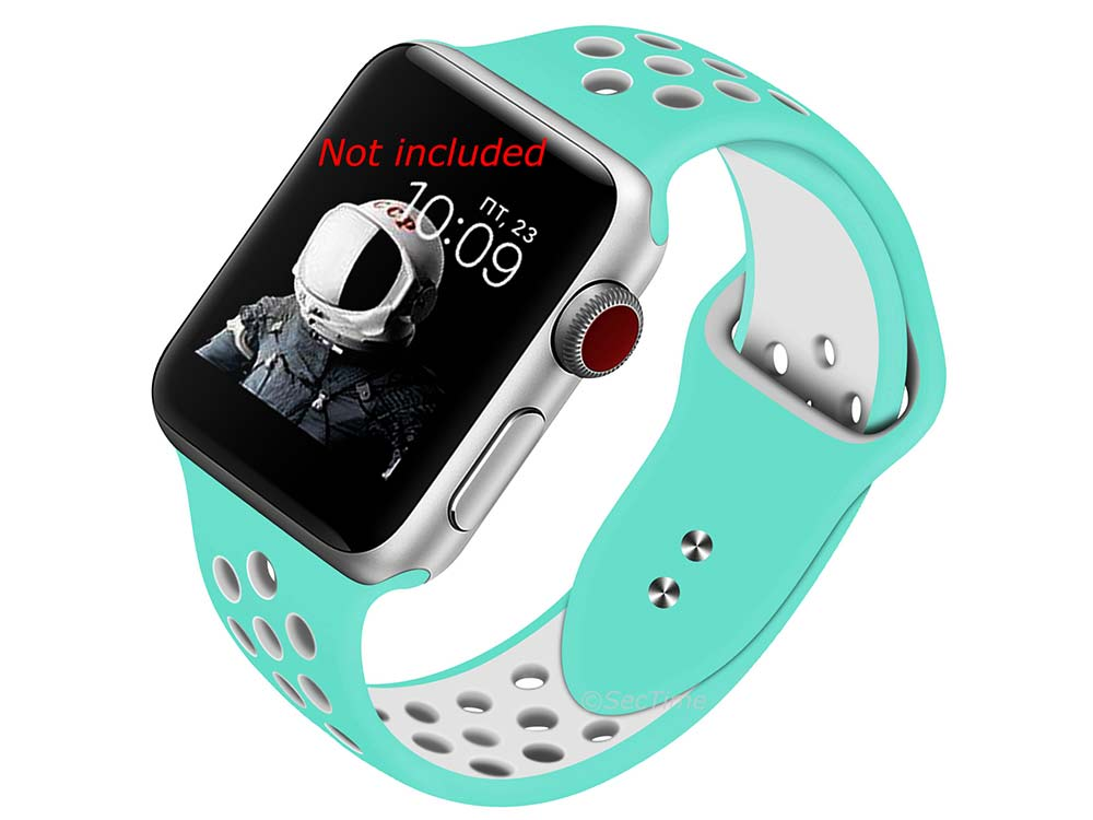 Perforated Silicone Watch Strap For Apple iWatch 42mm/44mm Turquoise/White Large