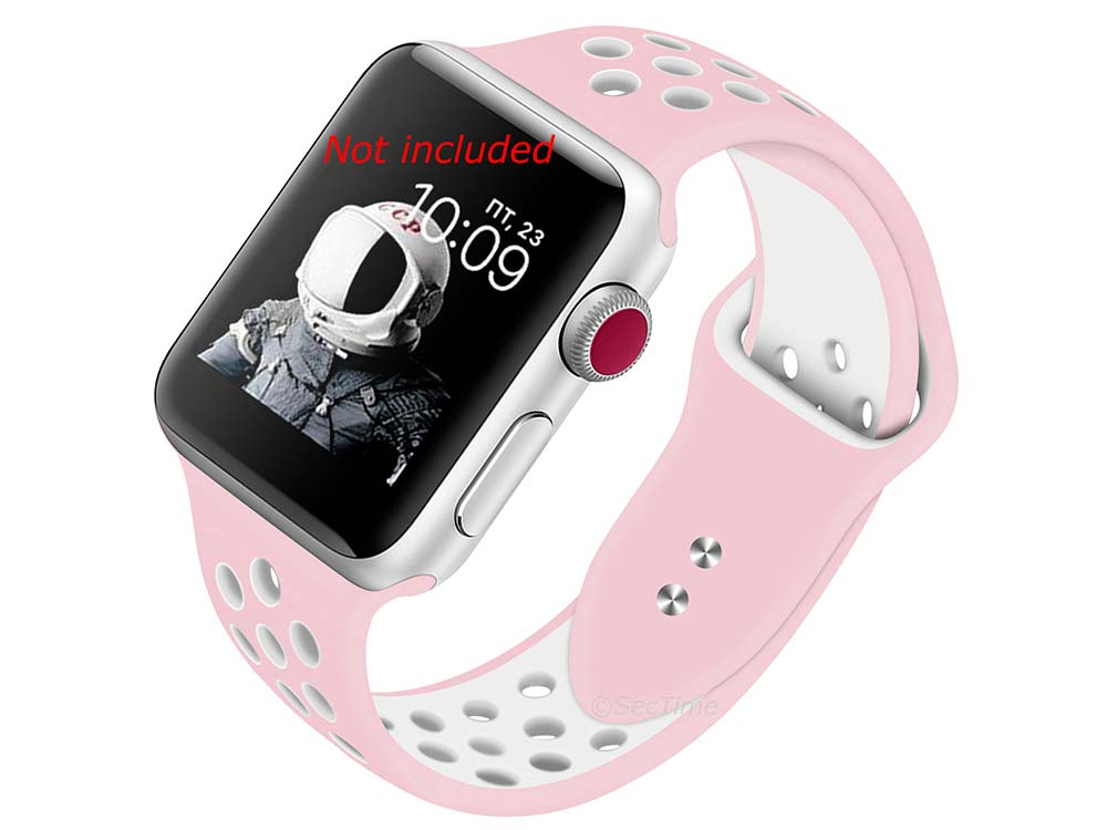 Perforated Silicone Watch Strap For Apple iWatch 42mm/44mm Pink/White Large