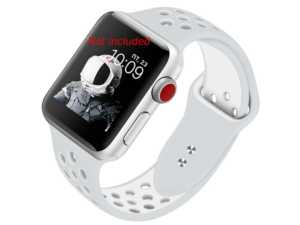 Perforated Silicone Watch Strap For Apple iWatch 42mm/44mm Silver/White Large