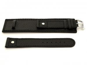 Leather Watch Band with Wrist Cuff Dakar Black 20mm