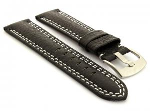 Double Stitched Leather Watch Band Freiburg DS Black 20mm