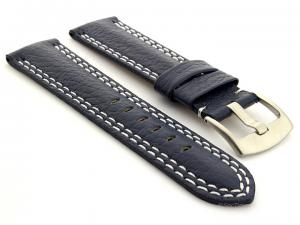 Double Stitched Leather Watch Band Freiburg DS Navy Blue 20mm