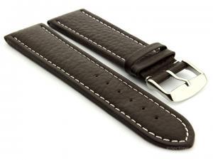 Extra Long Watch Band Freiburg  Dark Brown / White 28mm