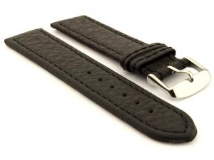 Leather Watch Band Kana Black / Black 24mm